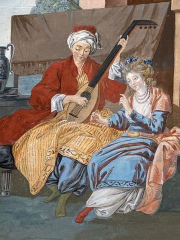 dessin à la gouache par leprince – musicien et son chien orientaliste