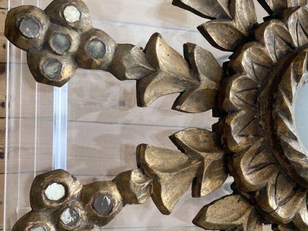 miroir soleil en bois doré branche glace