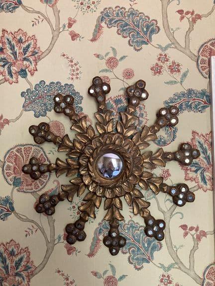 miroir soleil en bois doré glace bombé