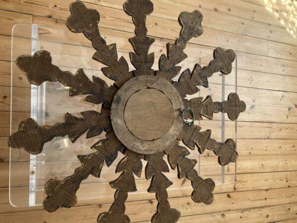 miroir soleil en bois doré glace oeil de sorcière dos arriere