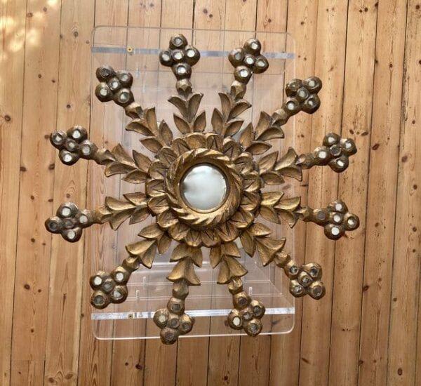 miroir soleil en bois et oeil de sorcière