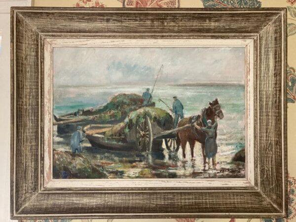 ramasseur de goémons tableau peinture bretagne signé chevalier