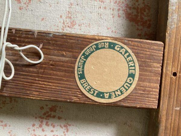 ramasseur de goémons tableau peinture bretagne signé étienne chevalier etiquette du fabricant