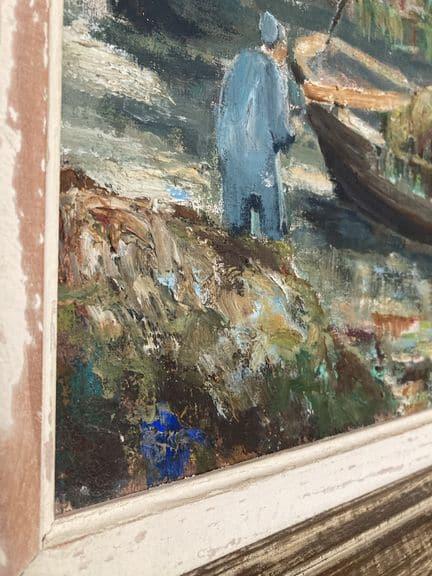 ramasseur de goémons tableau peinture signé étienne chevalier