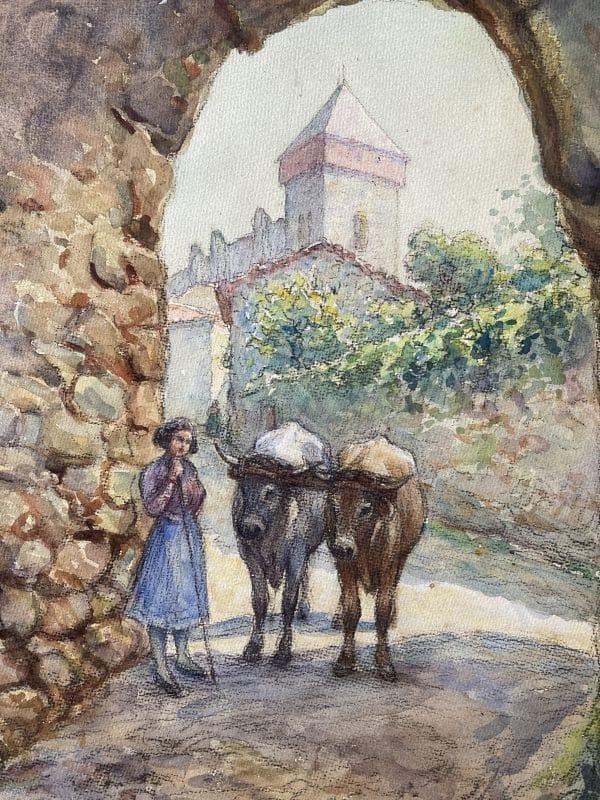 saint bertrand de comminges porte majou tableau à l'aquarelle