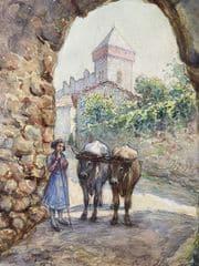 saint bertrand de comminges porte majou tableau à l'aquarelle 1