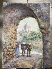 saint bertrand de comminges porte majou tableau à l'aquarelle femme avec ses boeufs 1