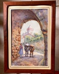 saint bertrand de comminges porte majou tableau à l'aquarelle signé 1