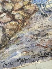 saint bertrand de comminges porte majou signature du tableau à l'aquarelle 1