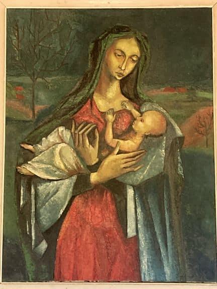 vierge à l'enfant tableau peinture originale